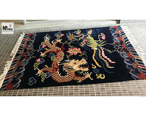 Tibetan Dragon Bird Rug Carpet Runner - Handmade 3X6ft -Wool -Navy Made to order