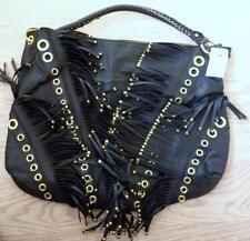 Large Faux Leather Tassel Fringe Hand Tote Bag in Dark Brown / Black