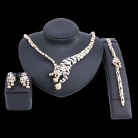 Tiger Crystal Jewelry Set For Brides Wedding Prom Necklace Earring Bangle Sets