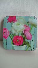6 Kork Untersetzer--wunderschönes Blumen-Motiv--Ranunkeln--Neu + OVP
