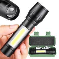 350LM T6+COB LED Tactique USB Rechargeable Zoomable Lampe de poche Torche Lamp
