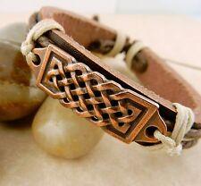 Unisex Adjustable Copper Celtic Knot Leather Bracelet