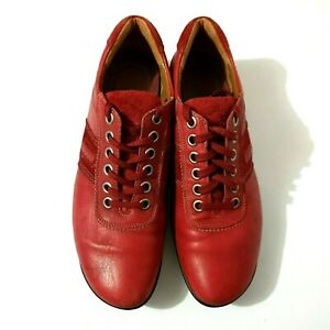 Ecco Shoes Sz 42 Red Leather Walking Sneakers Comfort Lace Up Casual Womens