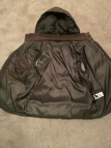 GUCCI Men's brown hooded sleeveless vest  , Size 58 , ITALY
