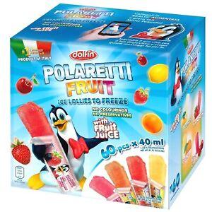 Dolfin Polaretti Fruit Juice Ice Lollies Freezer Popsicle Pops Pack of 60 x 40ml