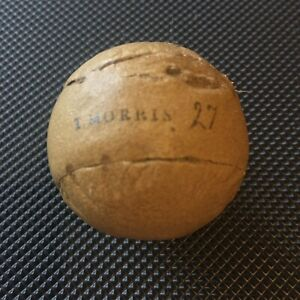 "FEATHERY GOLF BALL-""T.MORRIS"" EXQUISITE!-ANTIQUE AGED PATINA-HICKORY-COLLECTABLE"