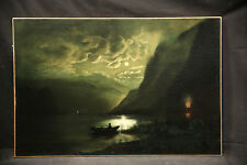 19 Century American Painting Incredible Moonlight Evening Landscape Lake & Fire