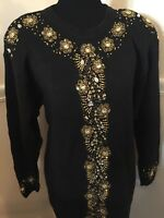 Victoria Harbour Black and Gold Women's Sweater Small Many Beads Ramie Cotton