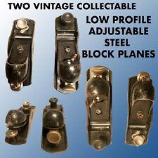 2 VINTAGE COLLECTABLE LOW PROFILE ADJUSTABLE STEEL BLOCK PLANES