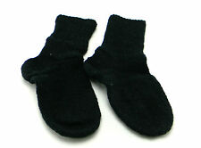 HANDMADE KNITTED BLACK SOCKS S SIZE 100% WOOL CASUAL