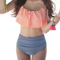 High Waist Swimwear Korean Style Women Ruffle Vintage Striped Bikini Swimsuit