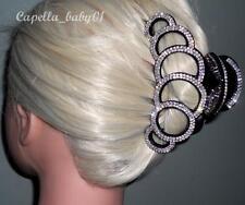 Capella *USA* SEXY Black Braided Rhinestone Large Thick Long Hair Clip Claw LM7