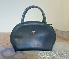 7b8b5ca6d35ee Bally Italy Navy Blue Pebbled Leather Doctor Bowling Satchel Bag Handbag