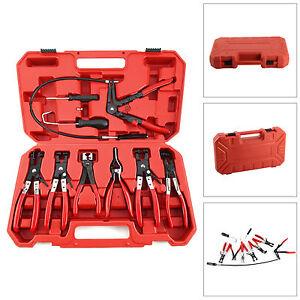 9PC Hose Clamp Clip Plier Set Swivel Jaw Flat Angled Band Automotive Tool Kit