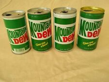 Vintage Mountain Dew Cans.  Four different models from 70s/80s.  One Canadian.