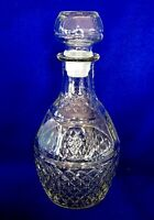 Collectible Diamond Point Pressed Glass Decanter Bottle - Etched Grapes & Crown