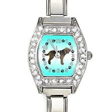Otterhound Cubic Zirconia Womens Stainless Steel Italian Charms Watch BJ1063