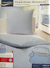 Perkal Kinder Bettwäsche Hellblau 135x200cm Baumwolle Reißverschluß Motiv NEU