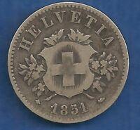 SWITZERLAND-HELVETIA  20 RAPPEN 1851  VERY RARE !  $149 only!!!! ORIGINAL