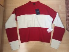 NEW FOREVER 21 RED & CREAM STRIPED JUMPER TOP KNITWEAR SWEATER SIZE S SMALL