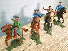 "Vintage Plastic Toy Cowboys & Indian Horseback 3"" Customizable Hong Kong"