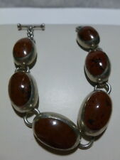 """MEXICO MEXICAN NATURAL STONE STERLING SILVER WOMENS HEAVY BRACELET 7.75"""""""