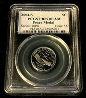 2004 S PCGS 5¢ Jefferson Nickel Peace Medal PR69DCAM