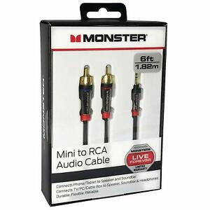 Monster 6-FT 1.82M Mini to RCA Audio Cable 3.5mm - US SELLER
