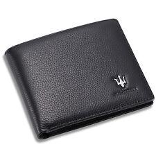 Maserati Bifold Wallet Black Genuine Leather with 6 Credit Card Holder Case Men