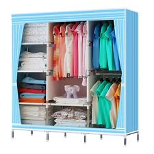 "Blue Striped 70"" Steel Frame Wardrobe Home Clothe Closet Hanger Storage Portable"