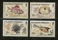 EXOTIC FISH ON FRENCH POLYNESIA 1962 Scott 199-202. MNH