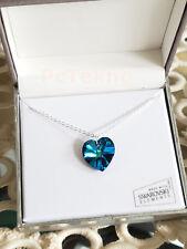 Swarovski Elements Crystal 18mm Love Heart Bermuda Blue Pendant Necklace NIB