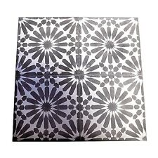 "Moroccan 12 Piece Handmade Cement Mosaic Tile Black 8""x8"" Floral Design"