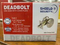 Shield Security Deadbolt one sided with cover plate Satin Chrome Finish BrandNew
