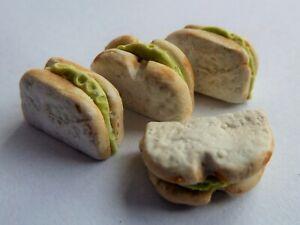 DOLLS HOUSE MINIATURE FOOD 1:12 * 4 X LETTUCE SANDWICHES * COMBINED P+P