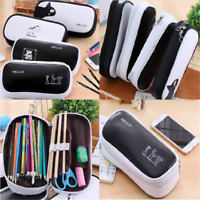 Large Capacity Black Pen Pencil Case Pen Box School Stationery Cosmetic Bag Gift