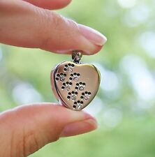 Cremation Jewelry Pendant Urn for Ashes Pet Dog Cat Crystal Paw Prints US SELLER