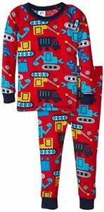 Toddler Boy's Construction Vehicles Waffle Thermal Pajama Set, Size 3T