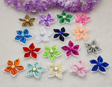 Big DIY 5-25-50PCS Satin Ribbon Flower with Crystal Bead Appliques~Craft Trim