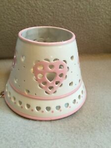Home Interiors White with Pink hearts Candle Jar Topper Victorian Shabby Chic