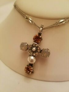 """NWT~ Mariana Jewelry """"Champagne and Caviar"""" Crystal Cross Double Chain Necklace"""