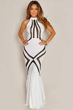 Maxi Abito nudo aperto aderente Trasparente Cerimonia Mesh Pattern Evening Dress