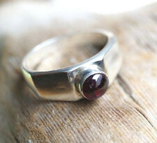Eckig Modern Schlicht Silberring 55 Granat Handarbeit Rot Silber Ring Verlobung