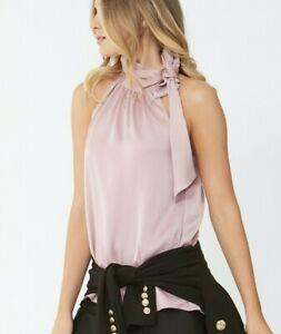 NWT Decjuba Pink Tie Neck Top [10] Melissa High Neck Silky Satin Blouse A-Line