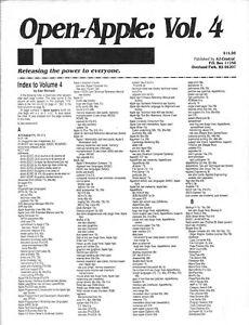 Open-Apple Newsletter, Volume 4, Apple II II+ IIe IIc IIgs