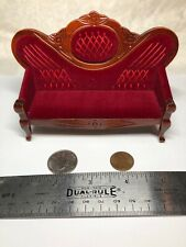 1:12 Town Square Miniature Furniture Wood Mahogany Victorian Couch Red Velvet #S