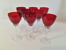 More details for vintage 1960s bohemian ruby red twisted stem sherry glasses set 8 cocktail bar