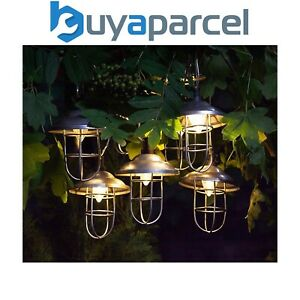 10 x Noma Solar Galvanised Metal String Garden Fishermans Lantern Lights LED
