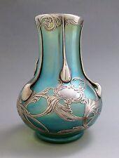 LOETZ Glatt Crete Art Glass Vase LA PIERRE Sterling Silver Overlay Double Signed