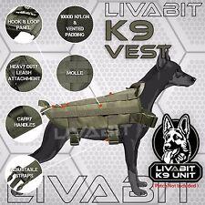K9 Service Police Dog LIVABIT Tactical Molle Vest Harness Canine OD Green